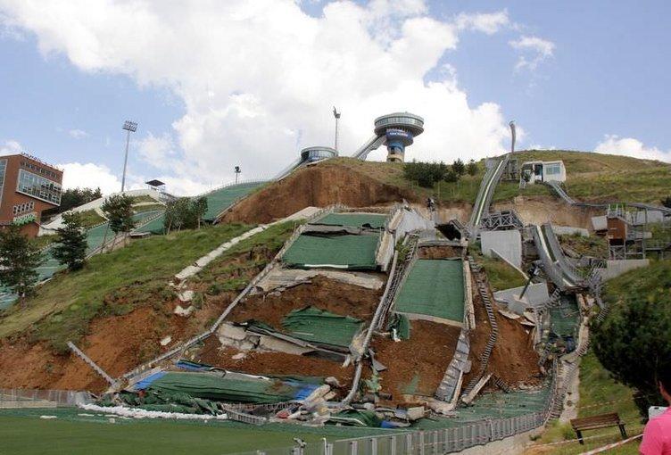 Erzurum'da atlama kuleleri heyelan nedeniyle çöktü
