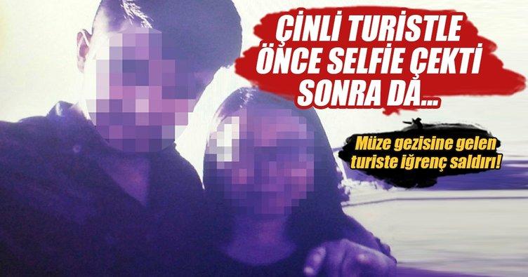 Çinli turistle selfie çekip taciz etti!