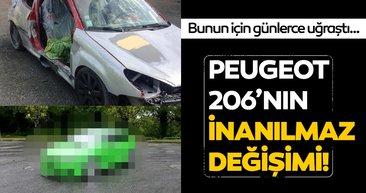 Otomobili hurda olarak aldı... Peugeot 206'nın sıradışı değişimi!