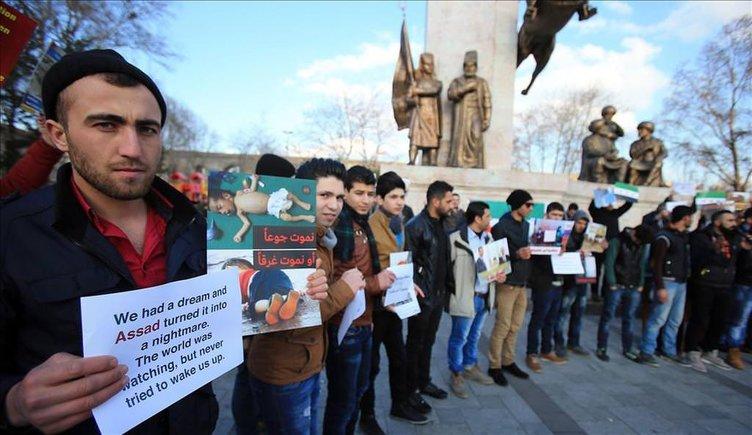 İstanbul'da Suriye halkına destek gösterisi yapıldı