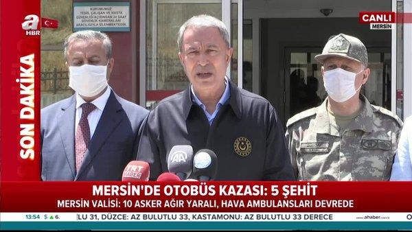 Son dakika haberi:Milli savunma bakanı Huluis Akar'da Mersin'de olay yerinde otobüs kazası açıklaması   Video