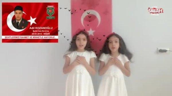 Şehit Astsubay Adil Kozanoğlu'nun kızlarından duygulandıran Cumhuriyet Bayramı şiiri   Video