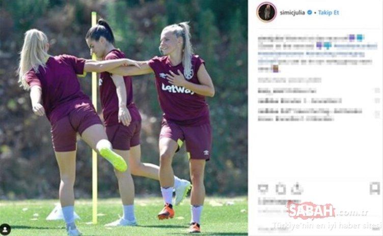 Kadın futbolcu sosyal medyayı salladı!