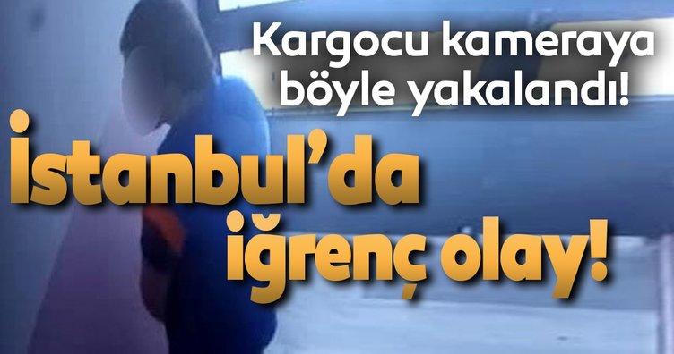 Kargocu, paket getirdiği binaya tuvaletini yaptı