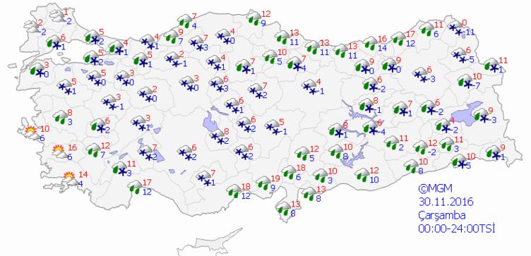 Yurtta 5 günlük hava durumu (30.11.2016)
