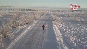 Eksi 67 derece soğukta 50 kilometre koştu