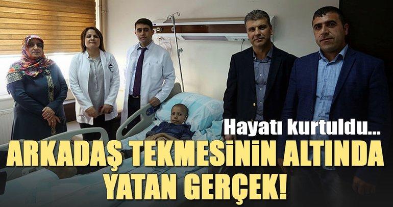 Erzurum'da arkadaşının tekmesi hayatını kurtardı