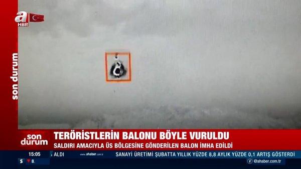 SON DAKİKA: Hakkari'de teröristlerin saldırı balonunun vurulma anı kamerada