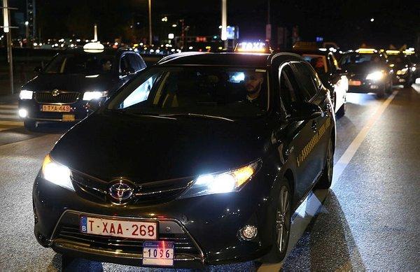 Brüksel'de Uber protestosu