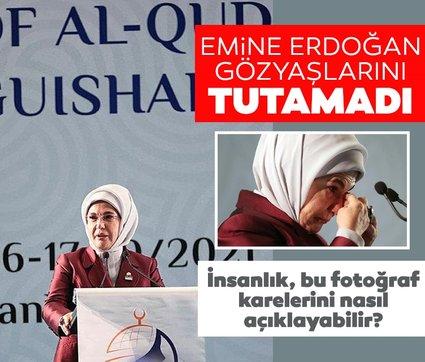 Emine Erdoğan gözyaşlarını tutamadı: Çocukların sesi kahkahalara yakışır feryatlara değil