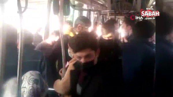 Tramvayda sosyal mesafesiz yolcu yoğunluğu kamerada | Video