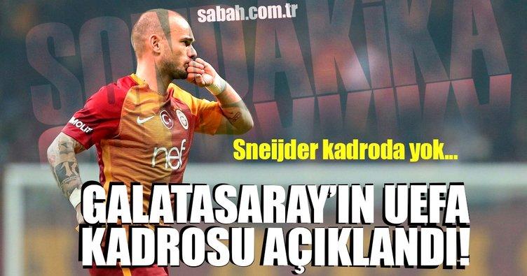Sneijder, Galatasaray'ın UEFA kadrosunda yok