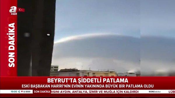 Son dakika! Beyrut'ta şiddetli patlama! İşte patlama anı | Video
