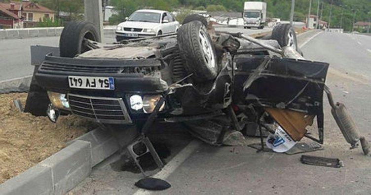 Devrek'te araç takla attı: 1 yaralı