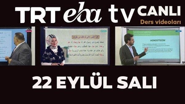TRT EBA TV izle! (22 Eylül Salı) Ortaokul, İlkokul, Lise dersleri 'Uzaktan Eğitim' canlı yayın... EBA TV ders programı | Video