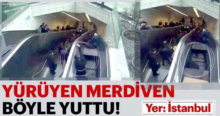 Metronun yürüyen merdivenin çökme anı kamerada!
