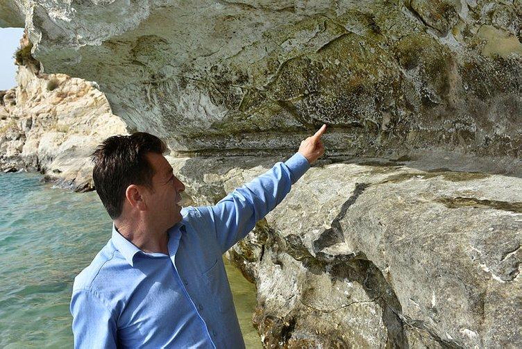 Baraj suları çekilince kaya resimleri ortaya çıktı