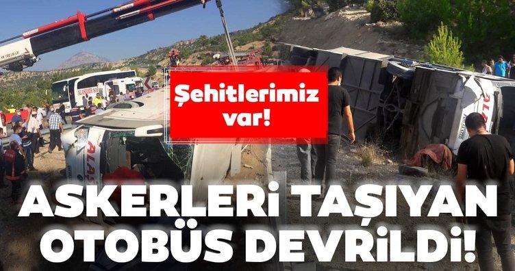 SON DAKİKA HABERİ: Mersin'de askerleri taşıyan otobüs devrildi: Şehitlerimiz var!