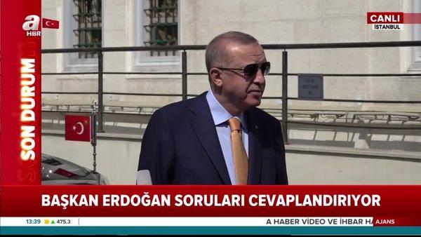 Son dakika: Cumhurbaşkanı Erdoğan'dan Cuma namazı çıkışı önemli açıklamalar (18 Eylül 2020 Cuma) | Video
