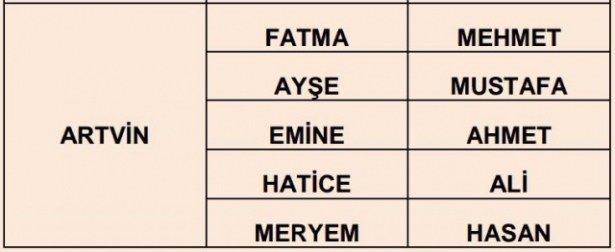 İllere göre en çok kullanılan isimler