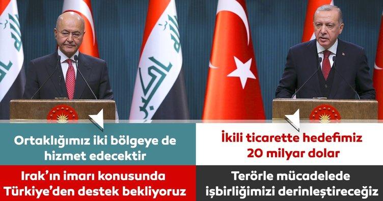 Erdoğan ve Irak Cumhurbaşkanı Salih'ten ortak basın toplantısı