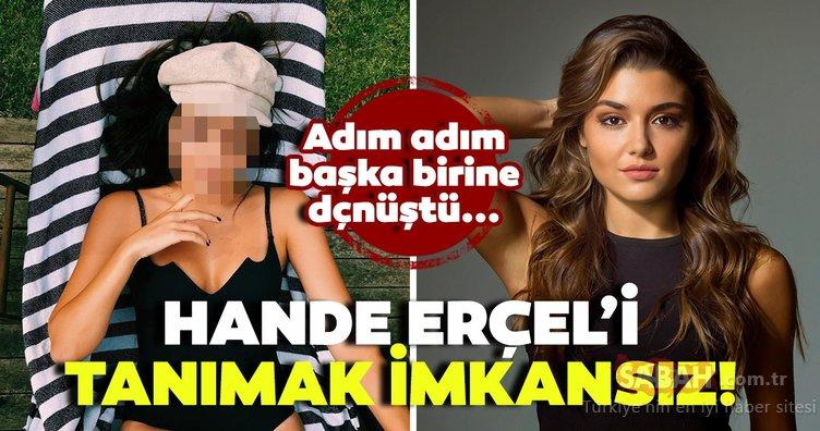 Ünlü oyuncu Hande Erçel'i tanımak imkansız! Hande Erçel adım adım başka birine dönüştü...