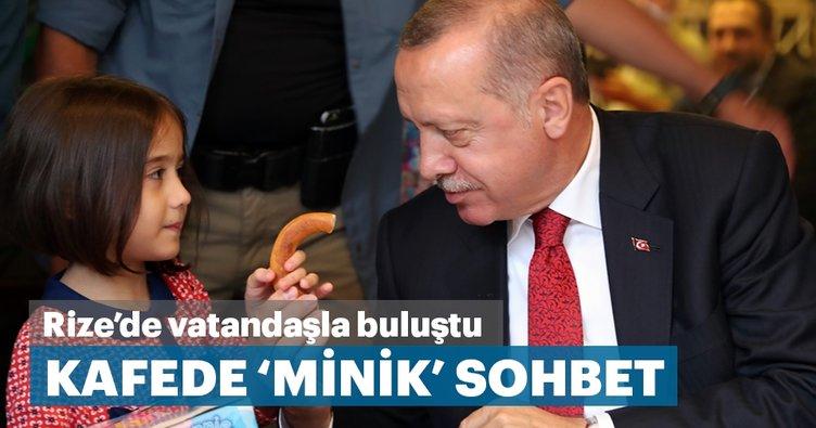 Başkan Erdoğan, Rize'de kafeye ziyarette bulunarak vatandaşlarla sohbet etti