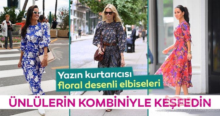 Floral desenli elbiseleri ünlülerin kombiniyle keşfedin
