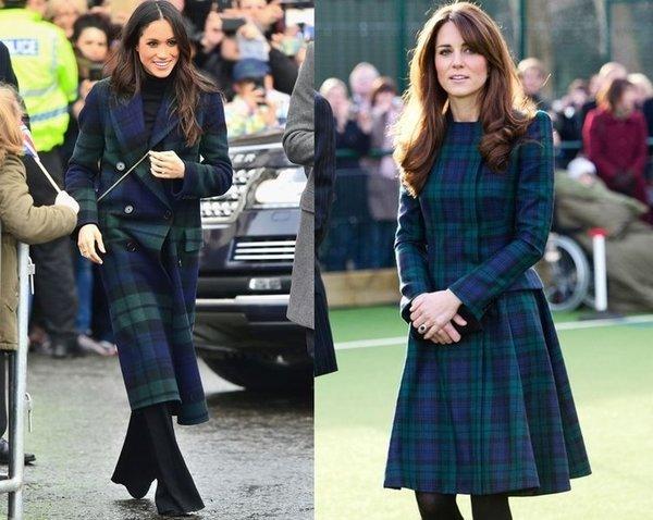 Kate Middleton ile Meghan Markle'ın stil benzerliği.