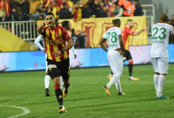 Adis celebrates one of his goals; photo: Sabah.com.tr