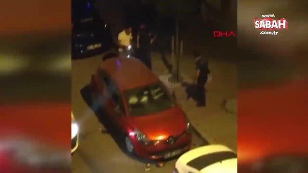 Küçükçekmece'de eşiyle kavga eden kişi otomobilinin camlarını böyle kırdı | Video