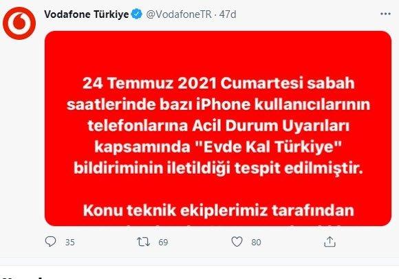 Test Alert Notification Evde Kal Türkiye ikazı nedir, ne demek? Vodafone'dan ilk resmi açıklama 'Evde Kal Türkiye' bildirimi için geldi! İphone İOS Test Alert Notification ikazı ne demek ve nasıl kapatılır? 15