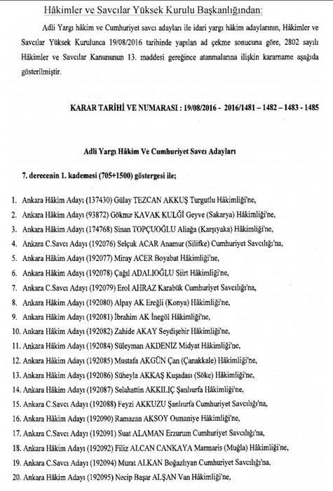 Hakim ve savcıların atama listesi