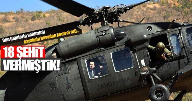 Bakan Soylu, 10 askerin şehit olduğu, 5 sivilin yaşamını yitirdiği saldırı bölgesinde