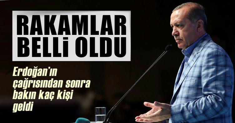 Cumhurbaşkanı Erdoğan'ın çağrısı işe yaradı! Bakın kaç kişi geliyor
