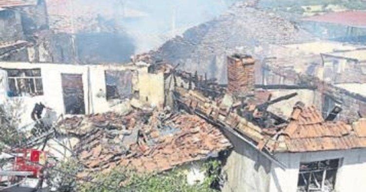 Manisa'da 4 ev yanarak küle döndü