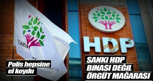 HDP binasında örgüt paçavraları çıktı