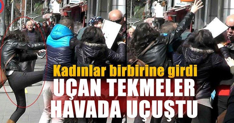 Zonguldak'ta kadın kavgası: Uçan tekmeler havada uçuştu