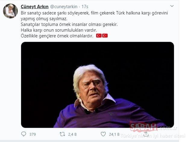 Usta sanatçı Cüneyt Arkın'dan Halil Sezai'ye sert gönderme! Cüneyt Arkın: Şarkı söyleyerek sanatçı olunmaz...