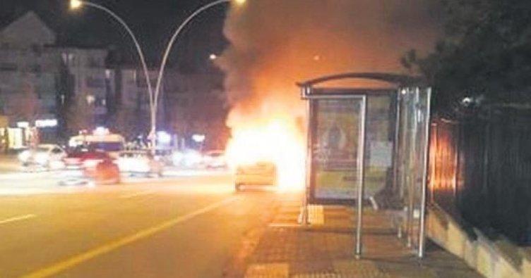 Çankaya'da taksi alev topuna döndü