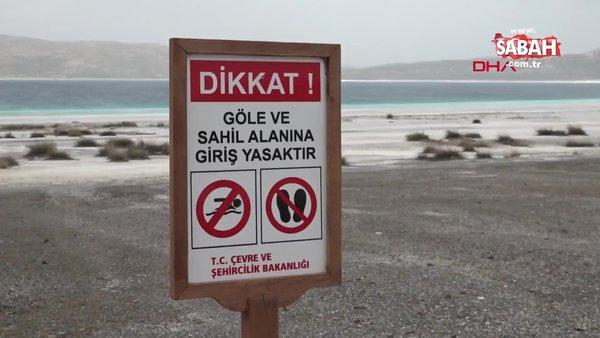 Burdur'da suyu 30 metre çekilen Salda Gölü'nde yeni kısıtlamalar