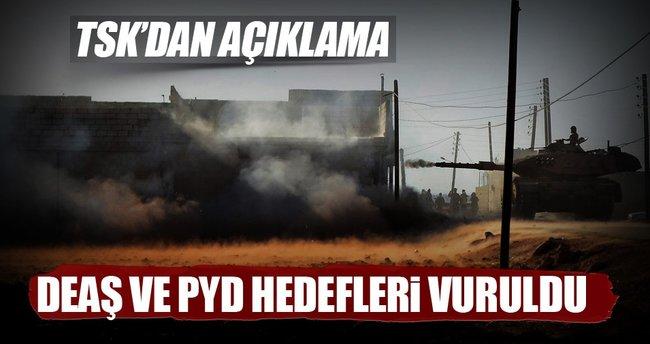 Fırat Kalkanı'nda DEAŞ ve PYD hedefleri vuruldu