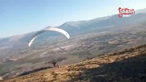 Yamaç paraşütçülerini izleyen vatandaşın kamera arkası konuşmaları güldürdü | Video