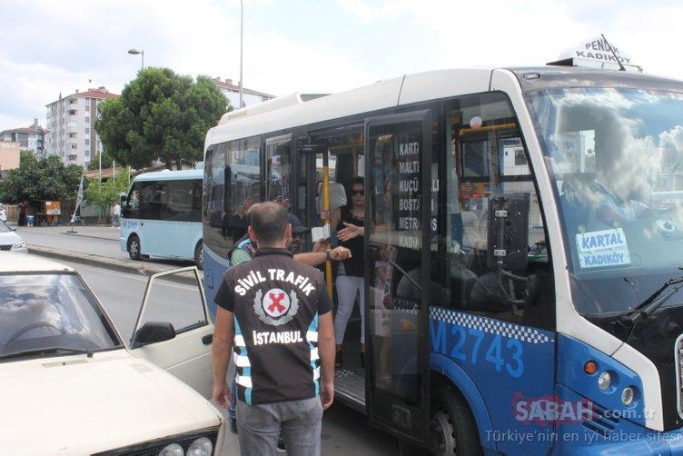 Minibüsçülere sivil trafik ekiplerinden şok uygulama