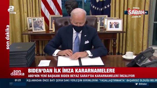 Son Dakika: ABD Başkanı Biden ilk kararnameyi imzaladı | Video