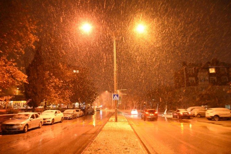 Hava durumu uyarısının ardından kar yağışı başladı