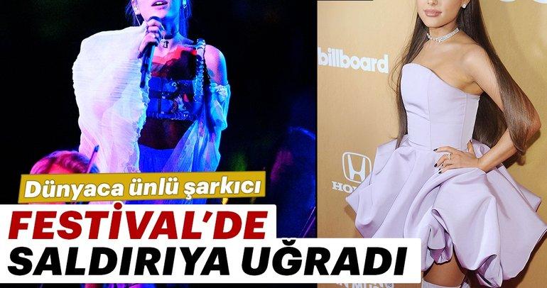 Dünyaca ünlü şarkıcı Ariana Grande sahne aldığı Coachella Festival'inde saldırıya uğradı.