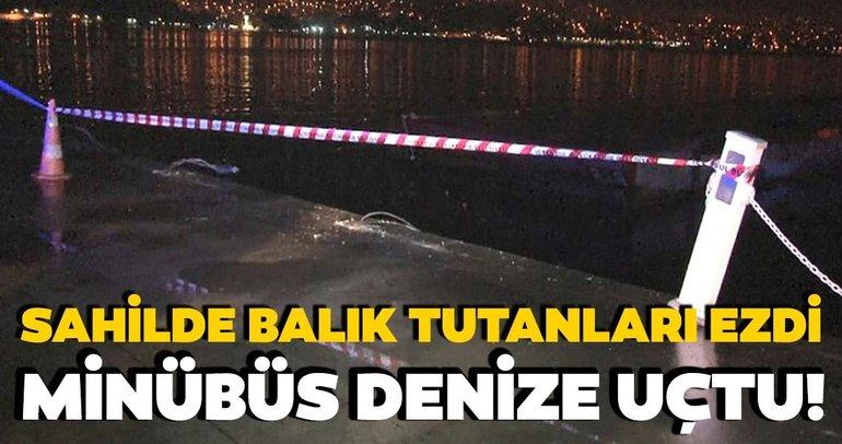 Tarabya Sahilinde denize minibüs düştü