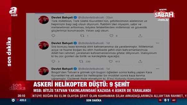 MHP Lideri Devlet Bahçeli'den helikopter kazasında şehit olan askerler için başsağlığı mesajı   Video