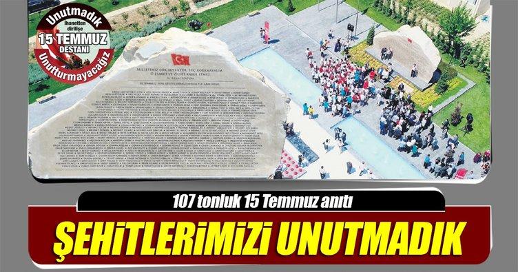 107 tonluk mermerden 15 Temmuz anıtı